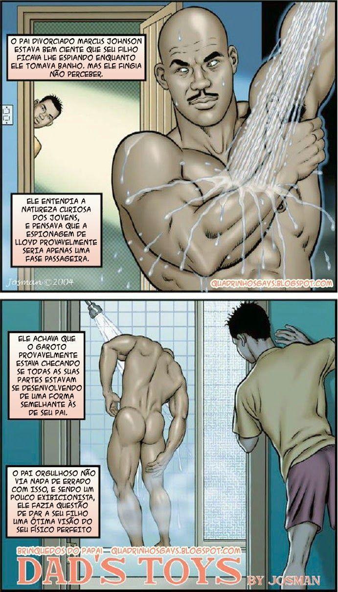 Quadrinho de sexo de Filho olhando pai tomando banho